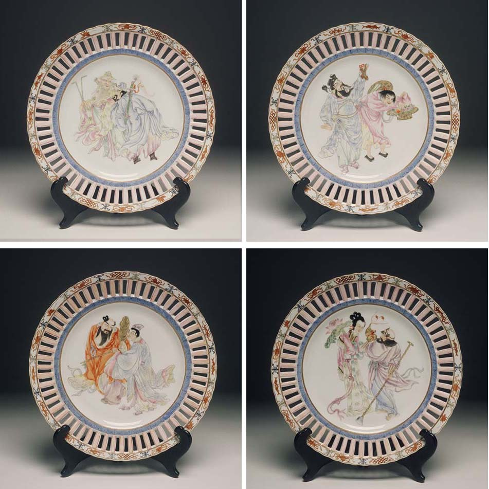 Set of Four Plates with Eight Immortals - Qing Dynasty