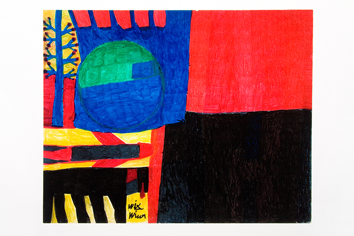 WILLIE WHITE  Untitled #1 (red and black square, blue and  green sphere, horse)