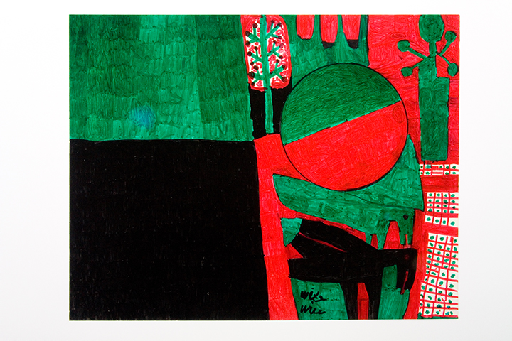 WILLIE WHITE  Untitled (Green and black square, red  and green sphere)