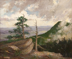 Constance Cochrane (1888 - 1962) In Clouds on Grandfather Mountain C. 1917, Oil on Canvas 22 x 27 inches