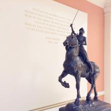 """Anna Vaughn Hyatt Huntington, """"Joan of Arc,"""" 1920, bronze, 51.5 x 31.5 x 13 inches, collection of the Longwood Center for the Visual Arts, Longwood University History Collection, Gift of the artist and her husband, Archer Milton Huntington, to the Joan Circle, 1927.1."""