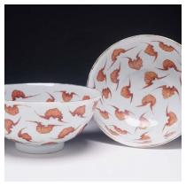 Pair of Bowls with Bat Design Qing dynasty