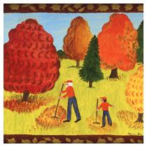 Fall Scene: Leaf Rakers 1993 - Marion Forgey Line ©LCVA