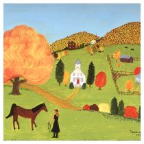 Hill Scene in Fall, 1992 - Marion Forgey Line ©LCVA