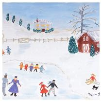 Ice Skating on Pond, 1990 - Marion Forgey Line ©LCVA
