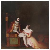 WILLIAM JAMES HUBARD (English, 1807-1862 d. Richmond, Virginia) Edwin Booth Performing Shakespeare at Richmond Theatre
